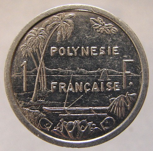 FRENCH POLYNESIA COIN Vintage over 25 Years Old Liberty sailboat 1 Franc Aluminu