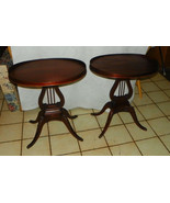 Pair of Oval Mahogany Lyre Base End Tables / Si... - $599.00
