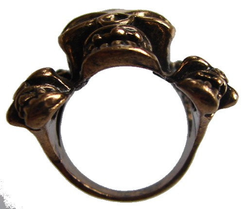 SKULL HEADS RING Unique large Gold Tone wicked thick bold Symbolic Ring
