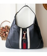 Gucci Jackie O Bouvier Navy Blue Leather Vintag... - $540.00