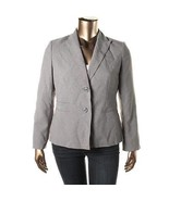 LE SUIT Womens Country Club Gray Pinstripe Two-Button Blazer Jacket 14  - $13.99
