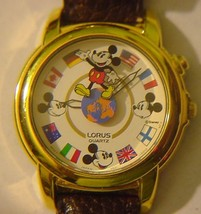Lorus Disney Musical Watch World Flags HTF Plays Theme World Rotates - $75.95