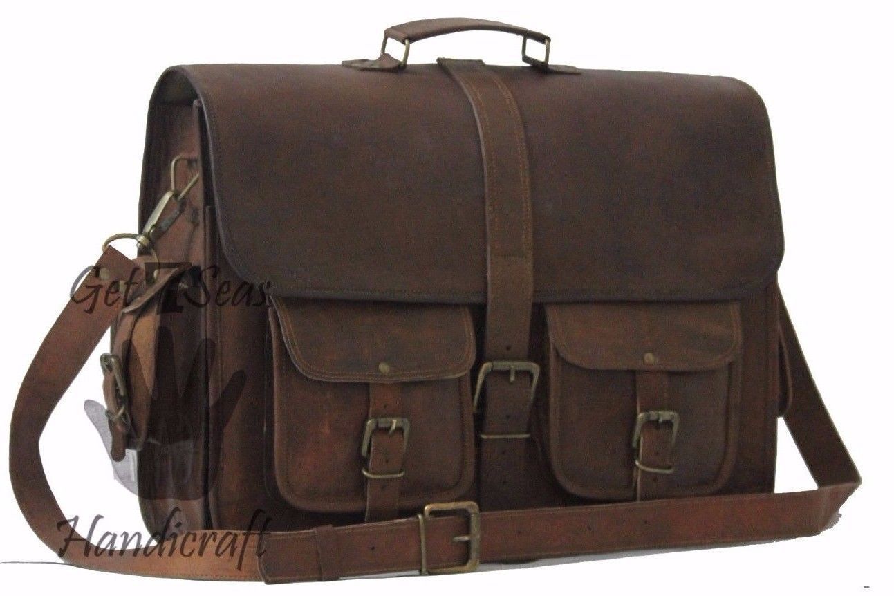 """16 """" Men's Vintage Brown Leather Handbag Messenger Bag Shoulder Laptop Briefcase"""