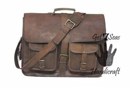 """16 """" Men's Vintage Brown Leather Handbag Messenger Bag Shoulder Laptop Briefcase image 3"""
