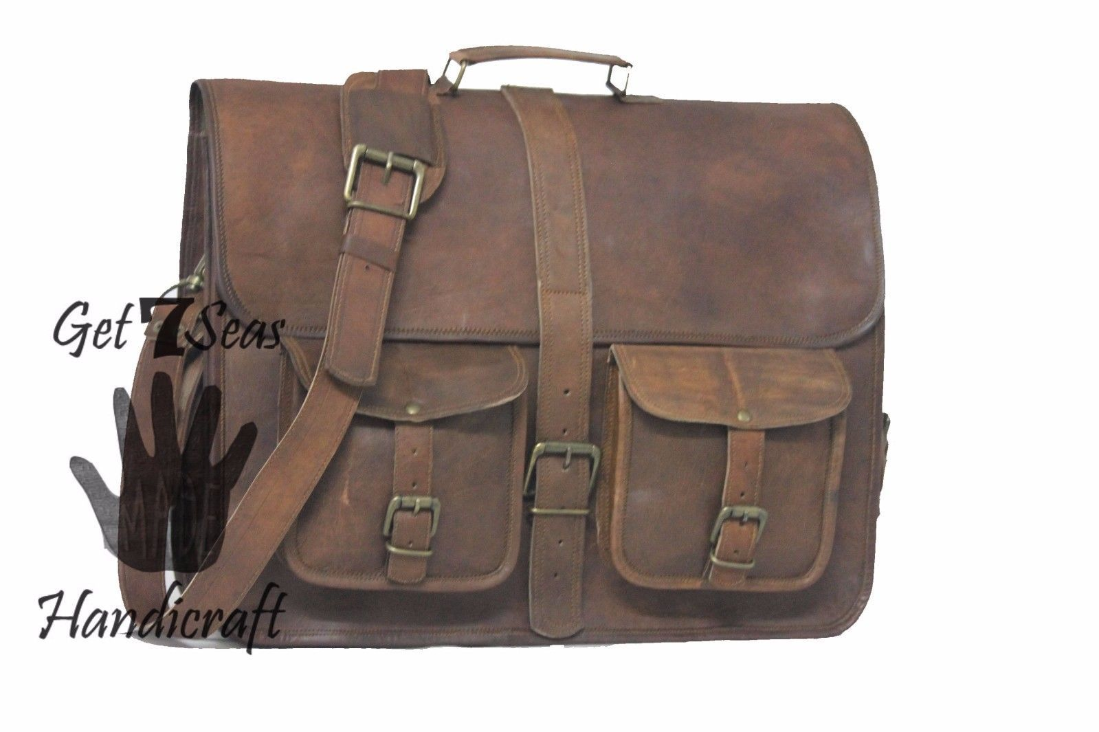"""16 """" Men's Vintage Brown Leather Handbag Messenger Bag Shoulder Laptop Briefcase image 2"""