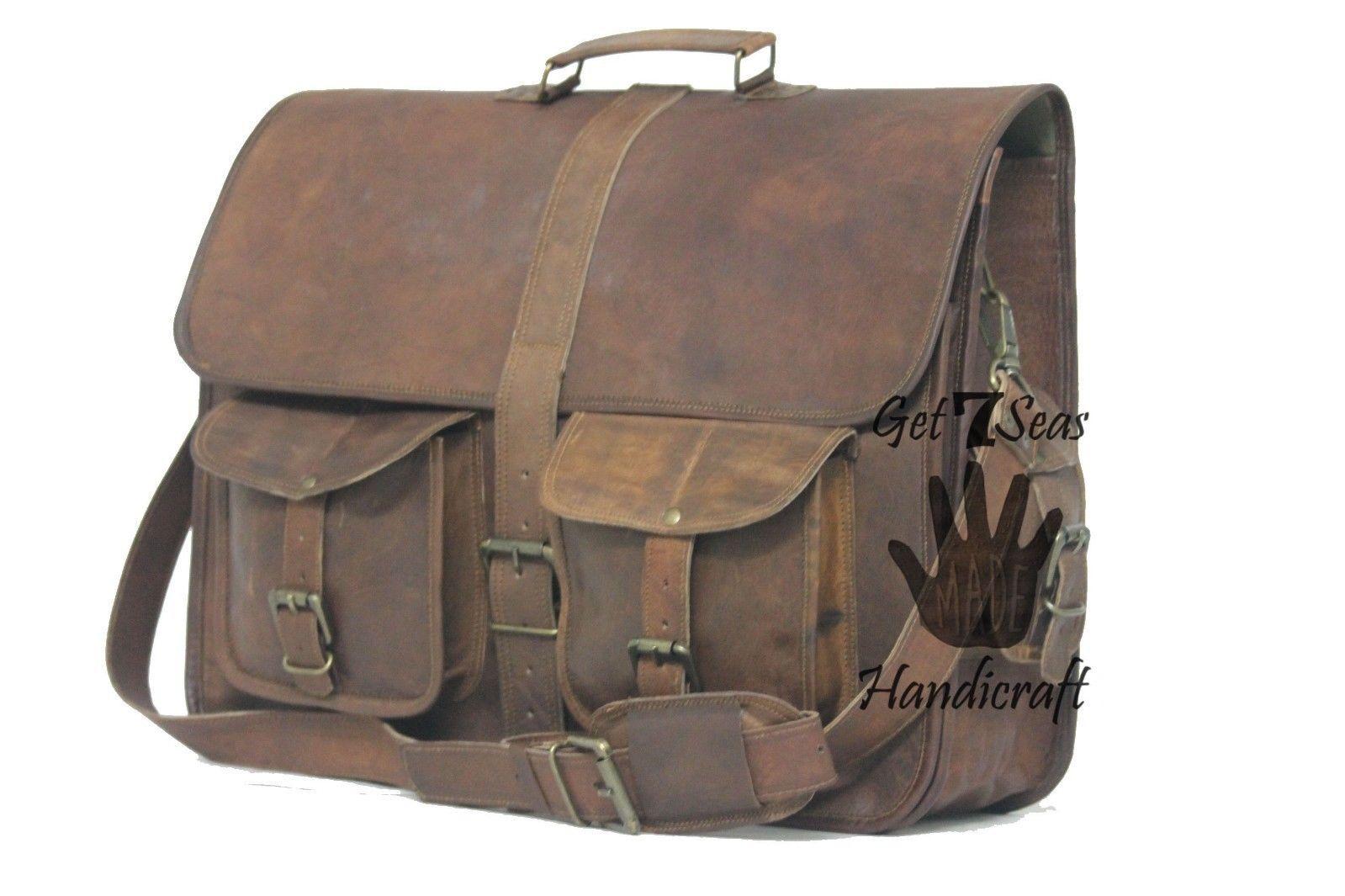 """16 """" Men's Vintage Brown Leather Handbag Messenger Bag Shoulder Laptop Briefcase image 4"""