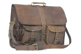 """16 """" Men's Vintage Brown Leather Handbag Messenger Bag Shoulder Laptop Briefcase image 5"""