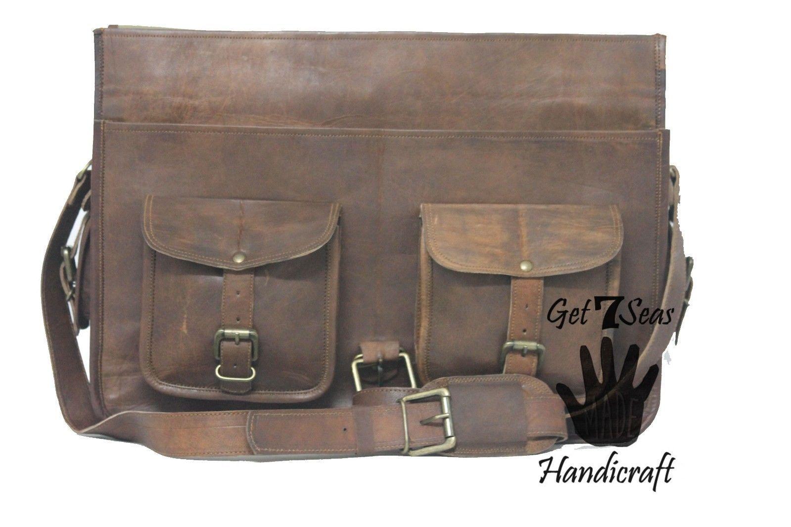 """16 """" Men's Vintage Brown Leather Handbag Messenger Bag Shoulder Laptop Briefcase image 7"""