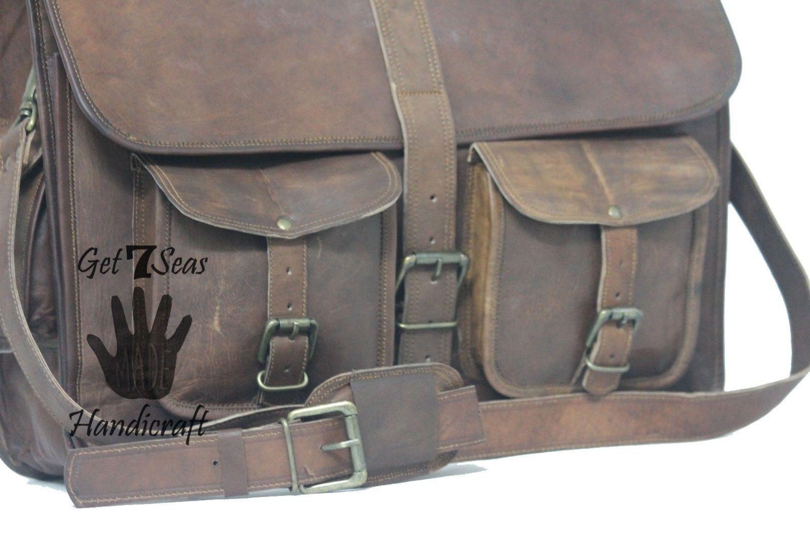 """16 """" Men's Vintage Brown Leather Handbag Messenger Bag Shoulder Laptop Briefcase image 6"""