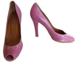 MARC JACOBS Classic Pumps Studded Shoe Size 6.5M Italy Plum Peep Toe Womens - $43.37