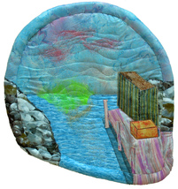 Sunrise at the Dock: Quilted Art Wall Hanging - $305.00