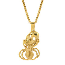 "Mens Gold Tone Stainless Steel Spider Skull Pendant 24"" 4mm Box Necklace... - $18.81"