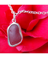 Red Darling Sterling Sea Glass Pendant - $220.00