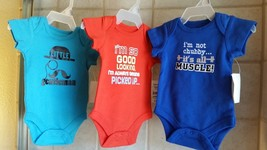 Lot of 3! New with Tags! Newborn INFANTS BOYS One piece bodysuit - $10.84