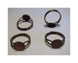 25 Antique COPPER Adjustable RING BLANKS 10mm pad ~NICE - $8.15