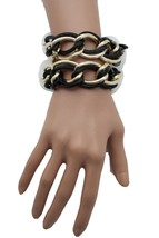 Women Fashion Bracelet Gold Black Metal Chain 2 Strand Wide Wrist Bangle... - $13.71