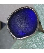 Carved Sterling Silver Blue Sea Glass Ring - $240.00