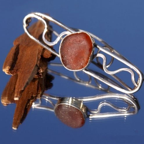 Brown Sea Glass Sterling Silver Barrette