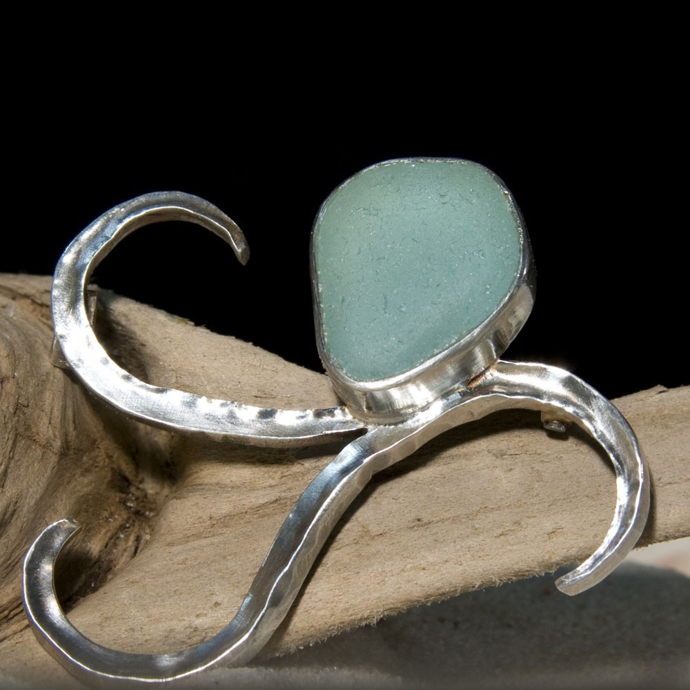 Sea Glass Brooch - Forged Sterling Silver