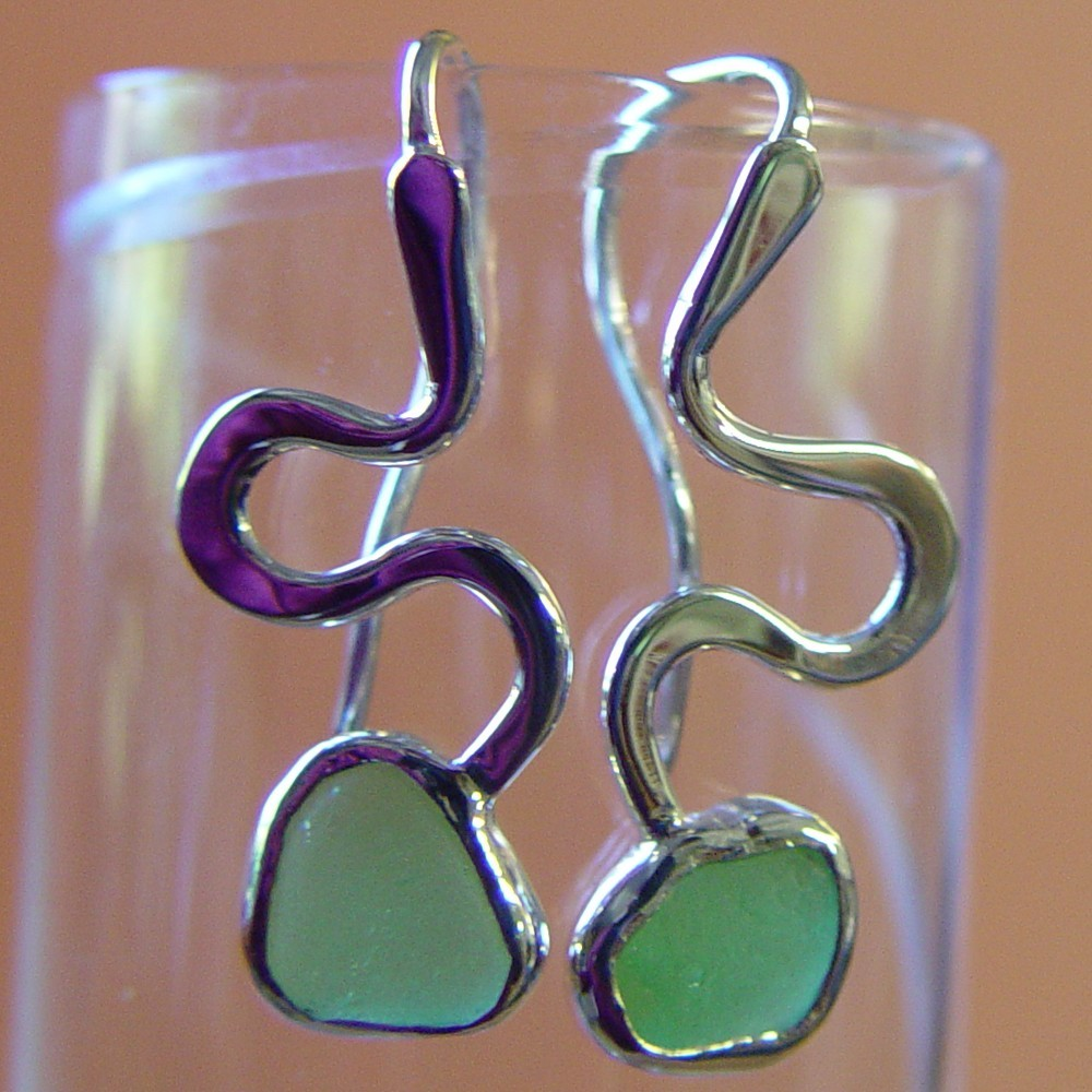 Green Sperm Earrings - Sterling Silver