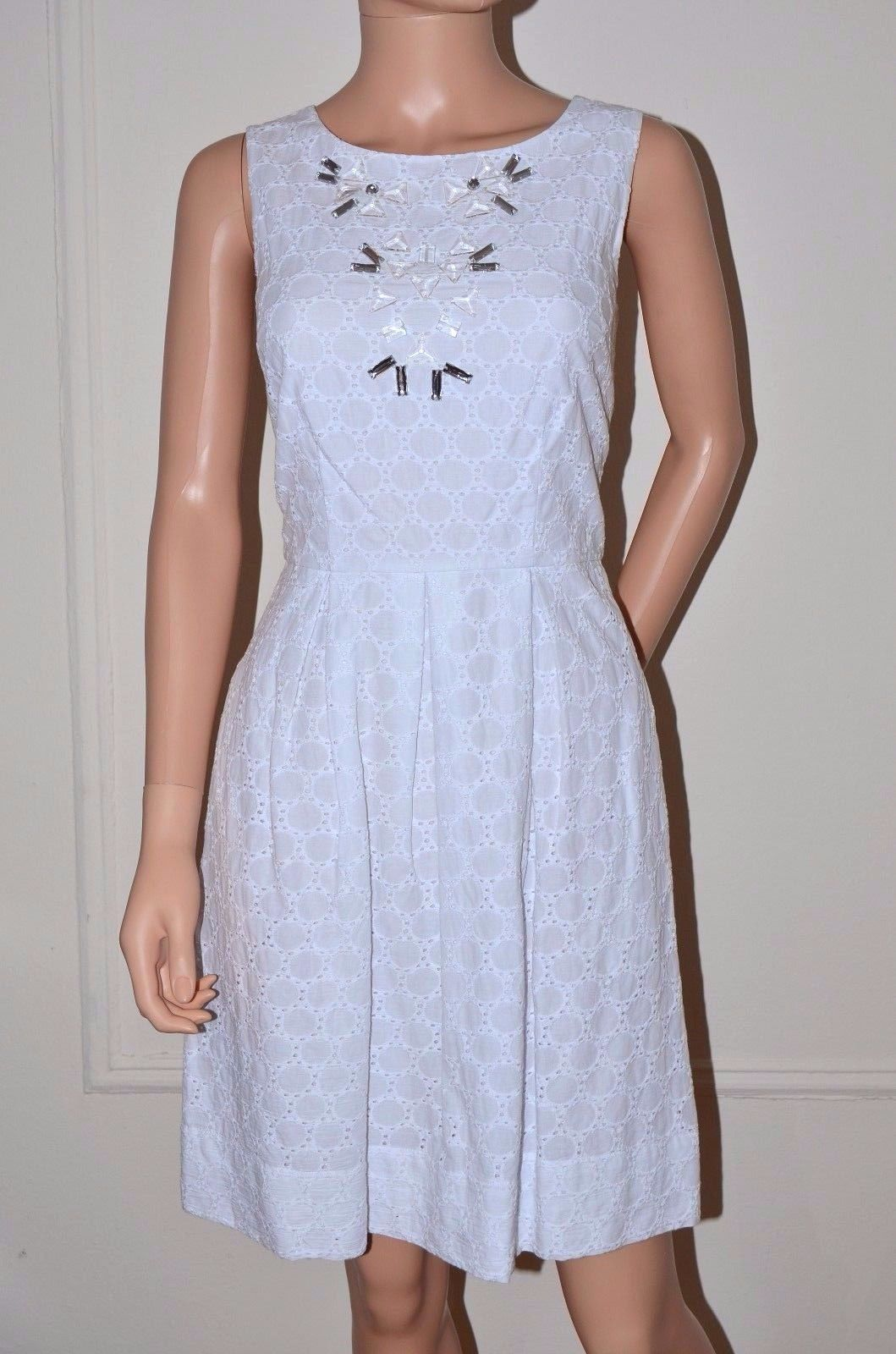 Miss Sixty M60 $128 White Eyelet Embroidered Dress White size 6 Medium M NEW a