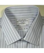 CHARLES TYRWHITT 16.5 x 34 Non-Iron Slim Fit Blue Stripe French Excellen... - $99.99