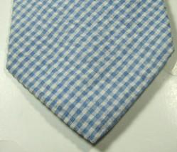 Brooks Brothers Seersucker Blue White Plaid Gingham Tie Excellent Rare - $29.99