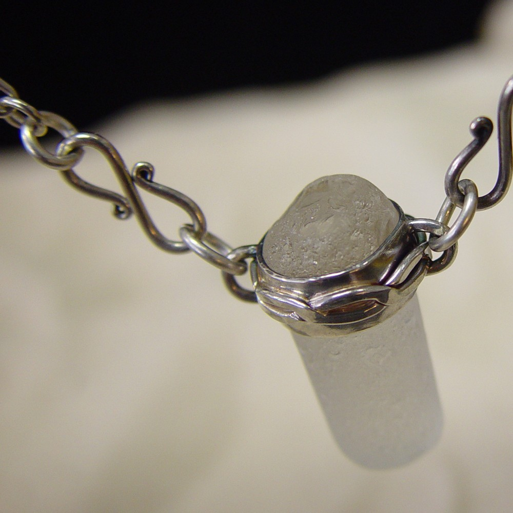 Sea Glass Pendant and Sterling Anchor Chain