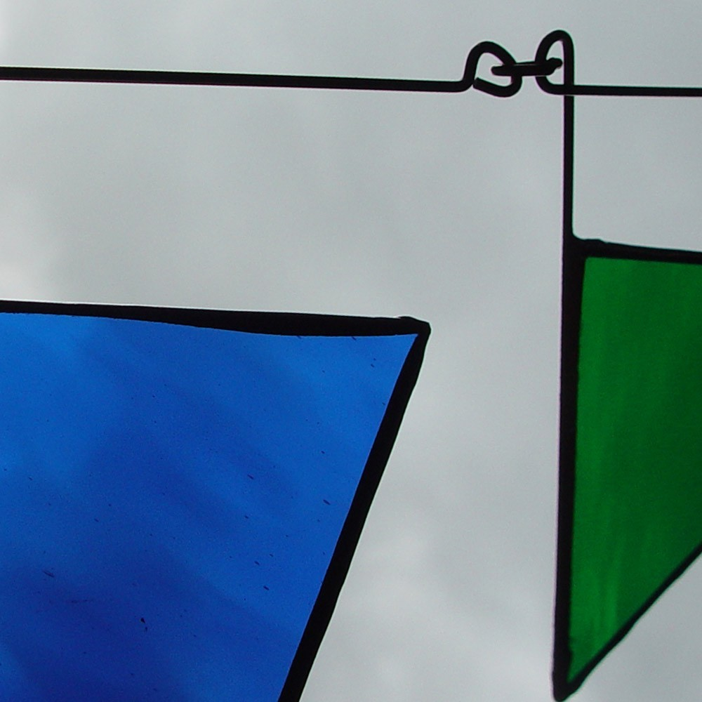 Rainbow of Triangles Stained Glass Mobile