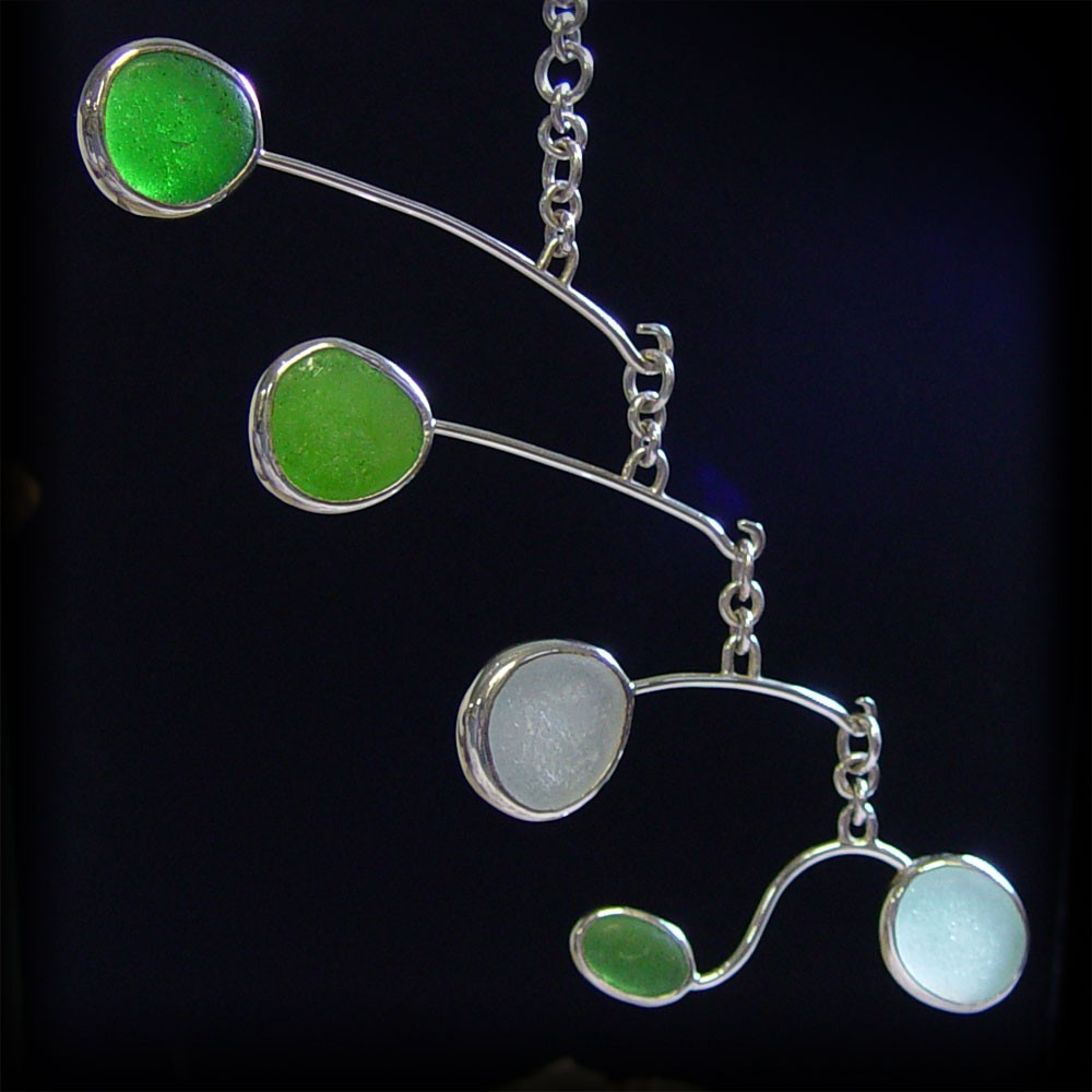 Shades of Green, Aqua and White Sea Glass Mobile--AutoMobile