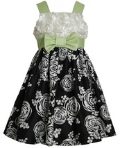 Little Girls 4-6X Black/White/Green Bonaz to Printed Shantung Fit Flare Dress