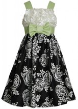 Big Girls Tween 7-16 Black/White/Green Bonaz to Printed Shantung Fit Flare Dress