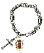 """St Francis Patron of Animals Charm & Cross Stainless Steel 7"""" to 8"""" Brac... - $27.95"""