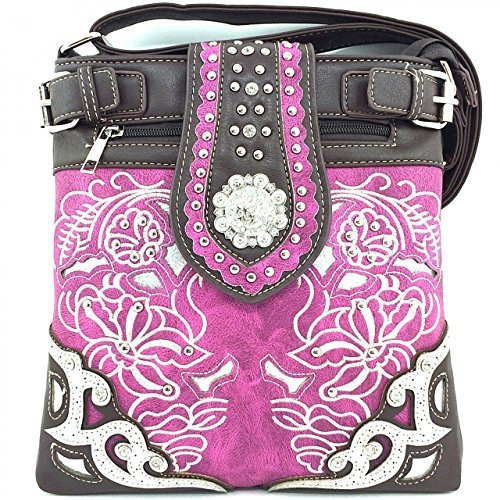 Embroidered Western Rhinestone Concho Messenger Bag Cross Body Purse (Purple)