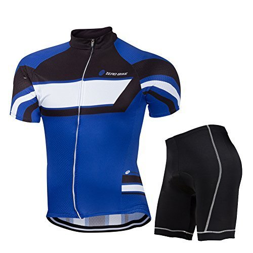 Primary image for ZEROBIKE® Men's Short Sleeve Breathable Cycling Jersey 3D Padded Shorts S...