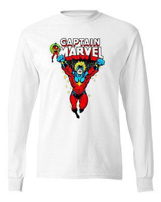 Captain Marvel T shirt retro Marvel Comics Silver Surfer cotton long sleeve