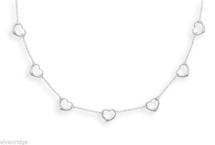 "16""+2"" Extension Rhodium Plated Heart Necklace Sterling Silver"