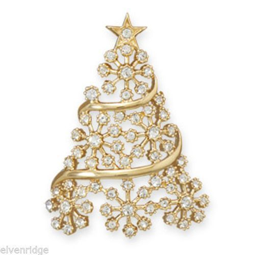 14 Karat Gold Plated Crystal Christmas Tree Slide Sterling Silver