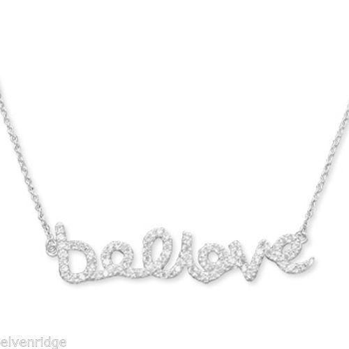 "16"" CZ ""believe"" Necklace Sterling Silver"