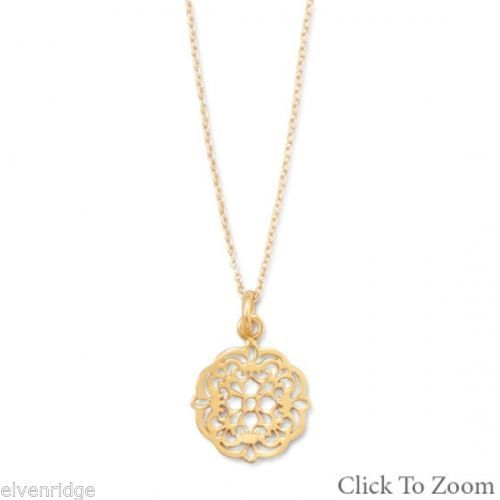 "16"" + 2"" 14 Karat Gold Plated Necklace with Ornate Cut Out Design Pendant Sterli"