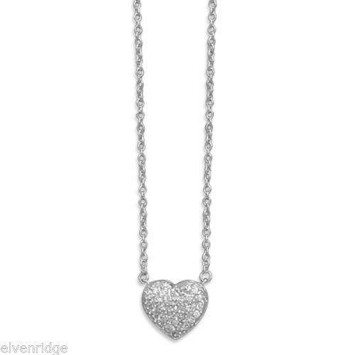 "16"" + 2"" Rhodium Plated Pave CZ Heart Necklace Sterling Silver"