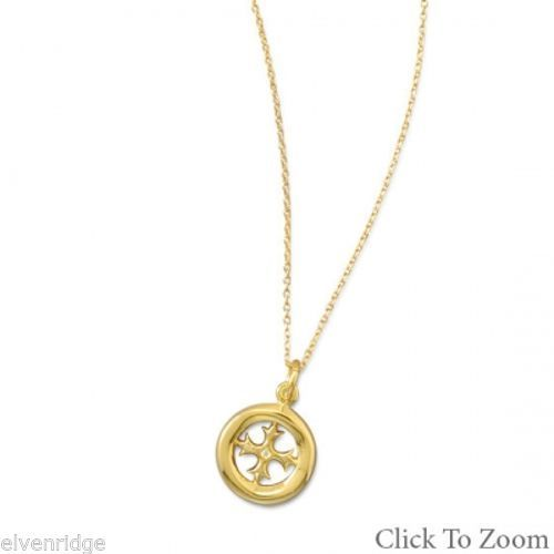 "15.5"" + 2"" 14K Gold Plated Necklace with Cut Out Cross Design Sterling Silver"