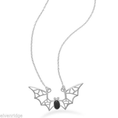 "16"" Bat Necklace with Black Onyx and Crystal Sterling Silver"