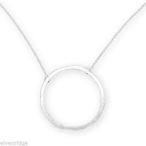 "16"" Textured Circle Necklace Sterling Silver"