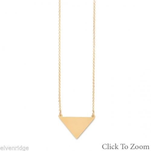 "18"" 14K Gold Plated Engravable Triangle Necklace Sterling Silver"