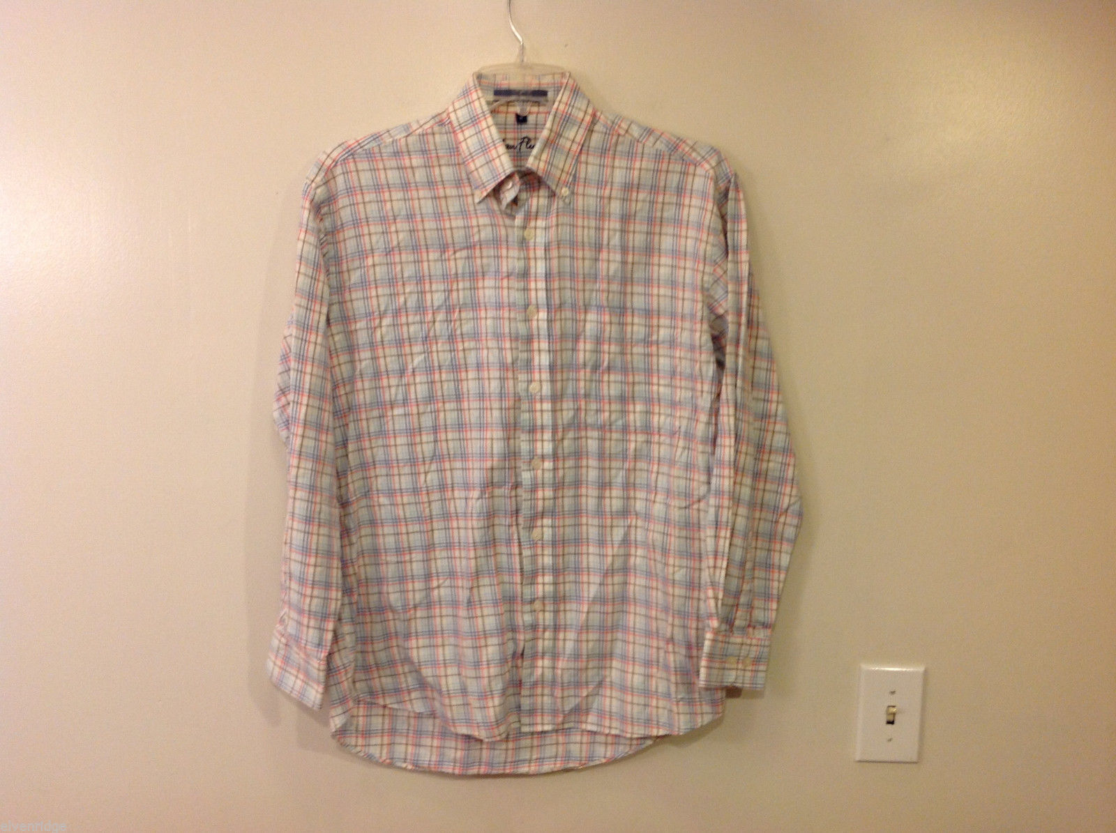 Alan Flusser Men's Size M Shirt Button-Down Collar White + Red Blue Brown Plaid