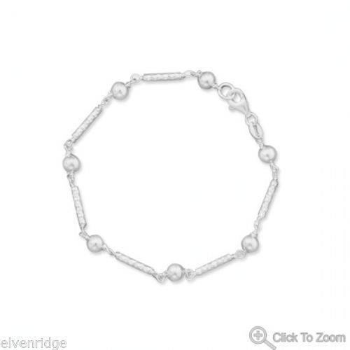 "7"" Diamond Cut Bar Bracelet with Beads Sterling Silver"