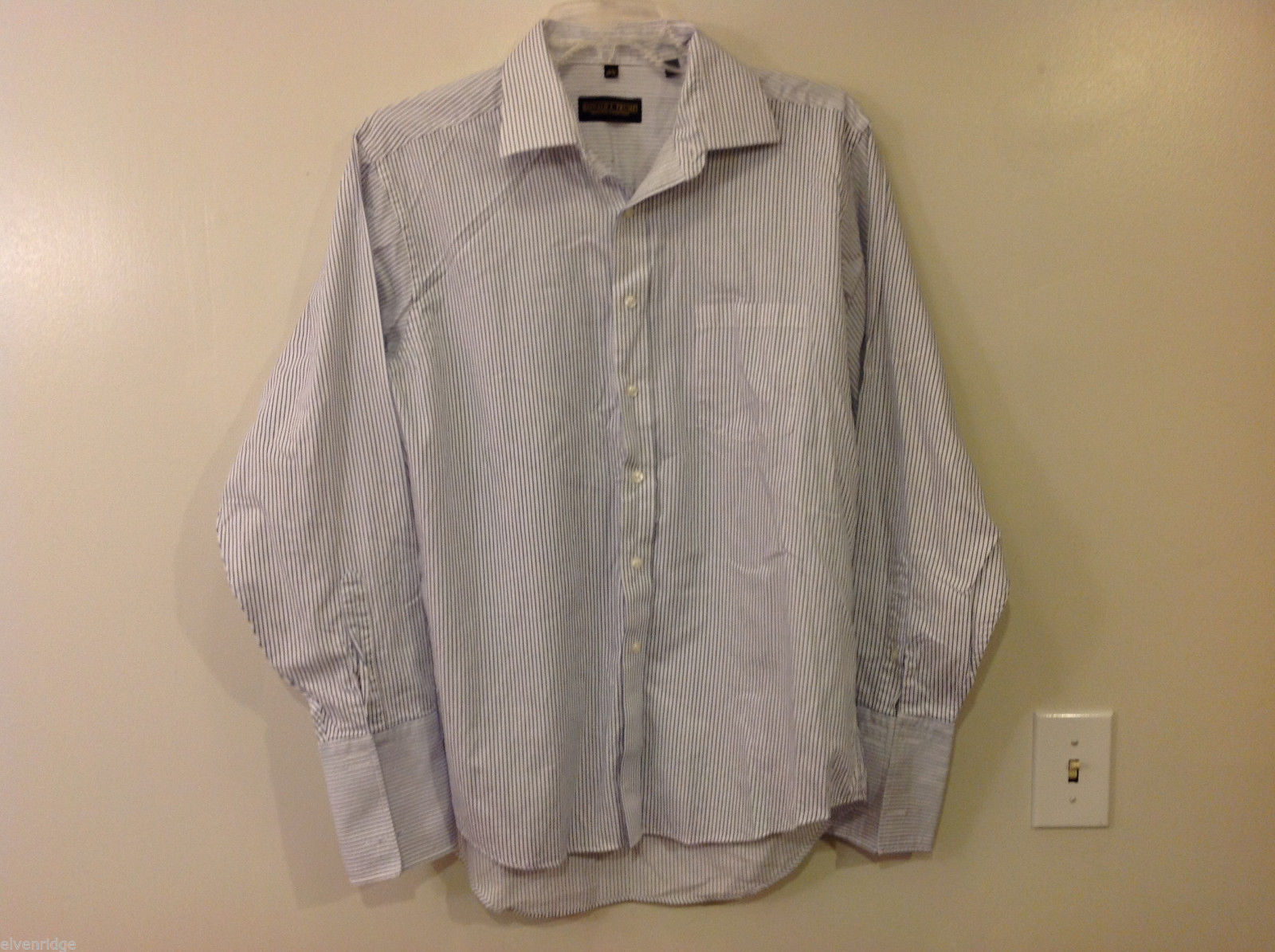 Donald Trump Collection Men's Size XL White Shirt Button-Down Blue Pin Stripes