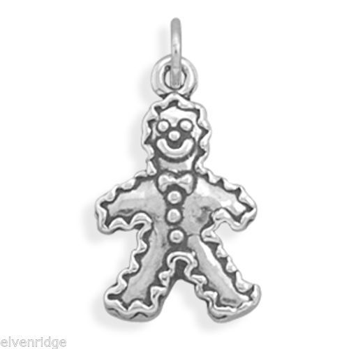Gingerbread Man Charm Sterling Silver