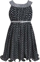 Bonnie Jean Little Girls 4-6X Black White Spangle Dot Print Belted Social Dress
